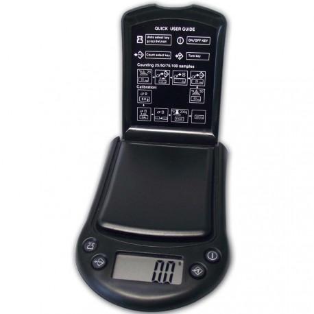 DIPSE PS Serie - Digitale Taschenwaage. Die Wiegefläche der PS250 wird von einem Klappdeckel geschützt.