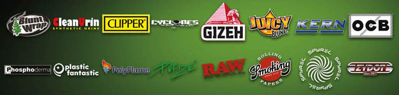 Headshop Großhandel SSR Produkt - Logos von Gizeh, Clipper, Juicy Blunts, OCB, Plastic Fantastic, Poly Flame, Purize, RAW, Smoking, Spyräl, Cyclones und Zydot.