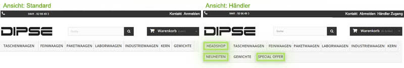 Headshop Großhandel Onlineshop - Ansicht für Händler und Standard-Darstellung