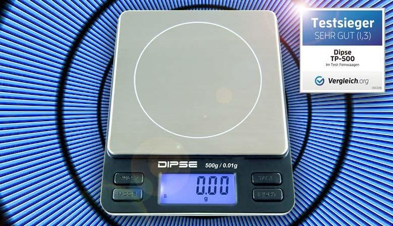 Dipse TP-Serie mit Wiegeschale und Tara-Funktion.